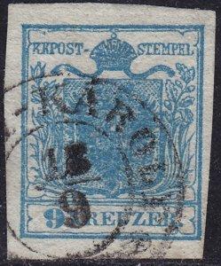 Austria - 1850 - Scott #5a - used - Type I - Unterlegte Mitte variety
