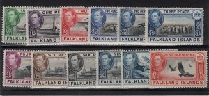 Falkland Islands 1938 issue mounted mint 12 stamps