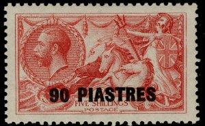 BRITISH LEVANT SG49, 90pi on 5s rose-carmine, LH MINT. Cat £25.