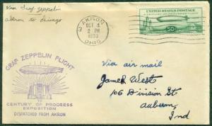 C18, 50¢ ZEPPELIN,  AKRON OCT. 4TH, LIGHT COVER TONING - STAMP IS VF