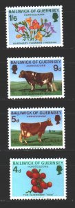 Guernsey. 1970. 31-34. Pets, cows, tomatoes, flowers. MNH.