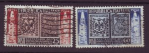 J22647 Jlstamps 1952 italy set used #602-3 stamps
