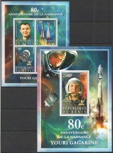 PE 2014 BENIN SPACE 80TH ANNIVERSARY OF YURI GAGARIN KB+BL MNH