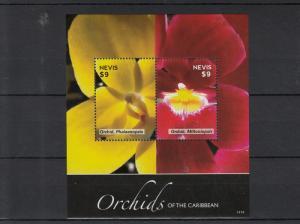 Nevis 2014 MNH Orchids of Caribbean 2v S/S II Flowers Flora Phalaenopsis