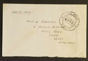 1946 Bombay India to York England RAF POST 2 Royal Air Forces Cover