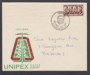 South Africa Sc 235 on 1960 UNIPEX Cover with UNIPEX label, bicolor cachet