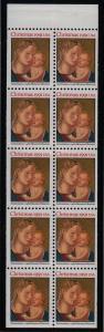 1991 Christmas never folded pane Sc 2578a plate number 1 CV $10