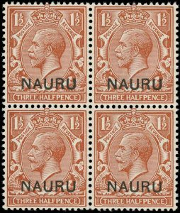 Nauru Scott 3 Gibbons 3 Block of Stamps