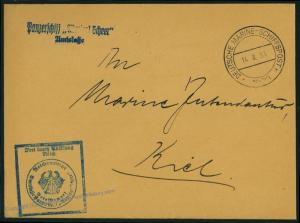 German Navy Spanish Civil War Admiral Scheer Ship Feldpost Cover 54509