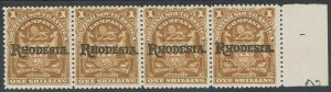 RHODESIA 1909 ARMS OVERPRINTED 1/- STRIP