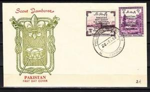 Pakistan, Scott cat. 101-102. 2nd National Jamboree issue. First day cover.