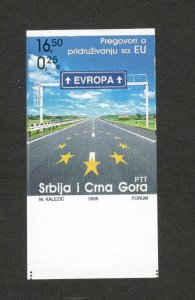 SERBIA & MONTENEGRO-IMPERFORATED STAMP - EU -PROOF ON CHROMALINE PAPE-2005.