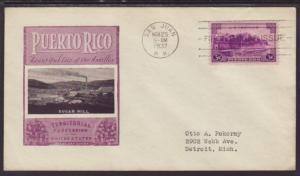 US 801 Puerto Rico Ioor Typed FDC