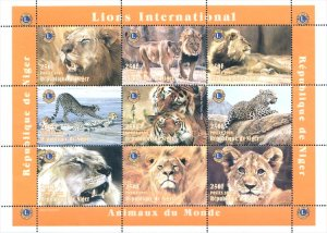 Niger 1998 Lion Wild Animals 9v Mint Full Sheet. (L-112)