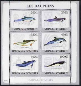 Comoro Islands MNH S/S Dolphins 2009 6 Stamps