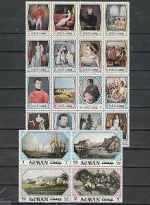 Ajman, Mi cat. 1148-1167 A. Paintings of Napoleon issue.