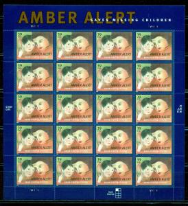 UNITED STATES SCOTT#4031 AMBER ALERT  SHEET OF TWENTY MINT NEVER HINGED