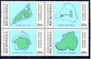 Micronesia MH Block 4a Maps Of Islands