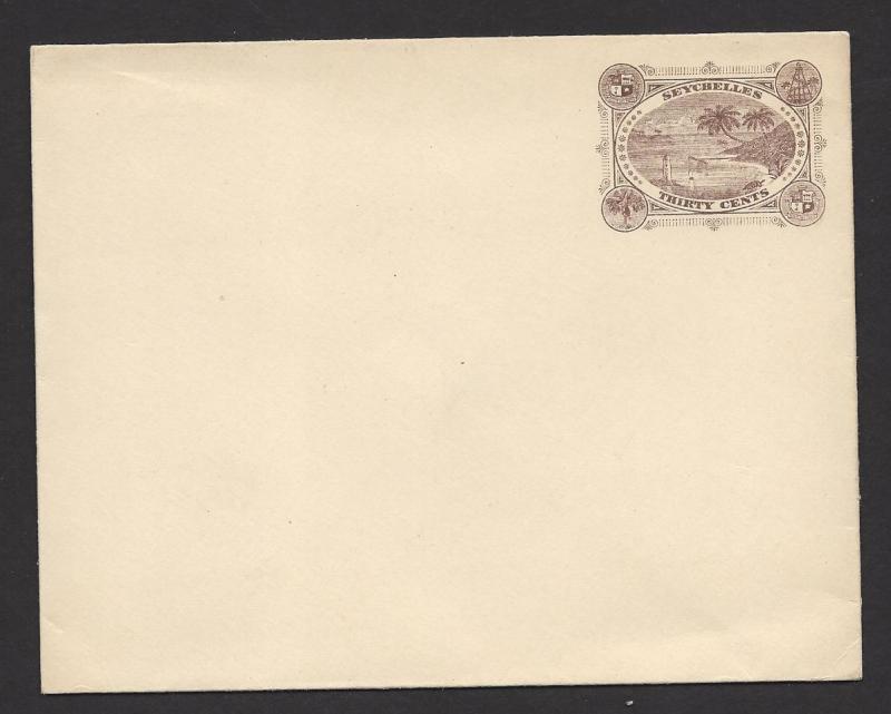 seychelles 1895 30c brown tortoise palm tree postal stationery