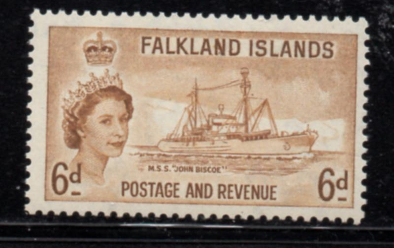 Falkland Islands Sc 125 1955 6d QE II & ship stamp mint