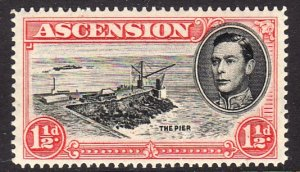 1938-53 Ascension KGVI The Pier 1½p issue Perf 13½ MLH Sc# 42b $5.75