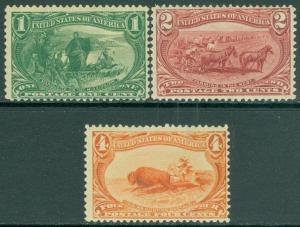 EDW1949SELL : USA 1898 Sc #285-87 Mint Original Gum Hinged Fresh color Cat $160
