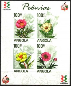 Angola 2011 Flowers Peonies Sheet of 4 Imperf. MNH