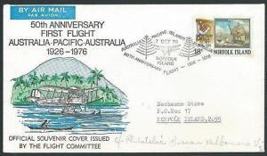NORFOLK IS 1976 50th Anniv first flight commem cover and postmark..........43056