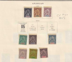 ANJOUAN  INTERESTING COLLECTION REMOVED FROM ALBUM PAGES - Y914