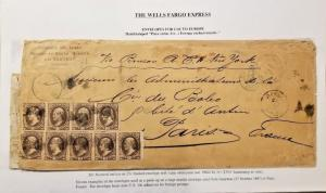 C) 1887 MEXICO, NUMERAL, WELLS FARGO EXPRESS ENVELOPE MULTIPLE STAMPS, AIRMAIL C