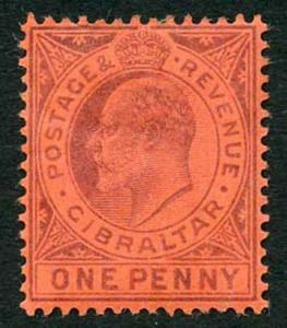 Gibraltar SG47 KEVII 1d dull Purple and Red Wmk Crown CA M/mint