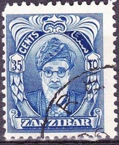 ZANZIBAR 1952 35c Bright Blue SG345 Fine Used