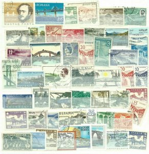 25 BRIDGES  THEMED STAMPS OFF PAPER - ALL DIFFERENT