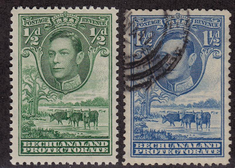 BECHUANALAND PROTECTORATE Scott # 124 MH, 126 Used King George VI (1 Stamp) -19