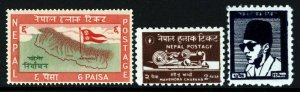 NEPAL 1959 Commemorative Issues SG 117 to SG 119 MINT