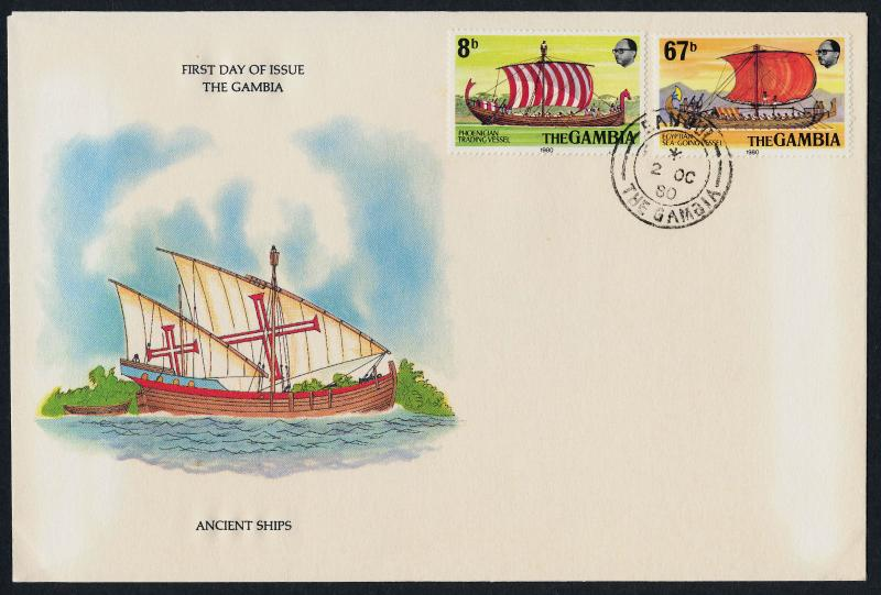 Gambia 413-4 on FDC Ancient Sailing Ships