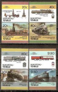 Tuvalu - Nukufetau 1985 Locomotive Railway Train Transport 8v MNH ++ 3374