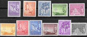 Seychelles # 157-67  George VI Definitives, to 1Rp.(11)  VLH Unused