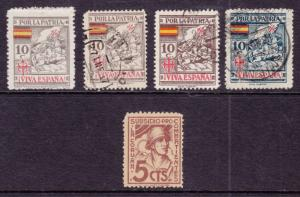 Spain, Coruña Provincial Tax Stamps,  Bar 2/13, 1937 5 diff fiscals