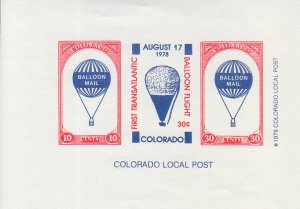 1978 Colorado Local Post Balloon Mail SS (Scott NA) MNH