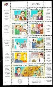 #1955 VENEZUELA 1997 LITERATURE ELOY BLANCO WRITER MAP HORSE MINISHEET YV816 MNH