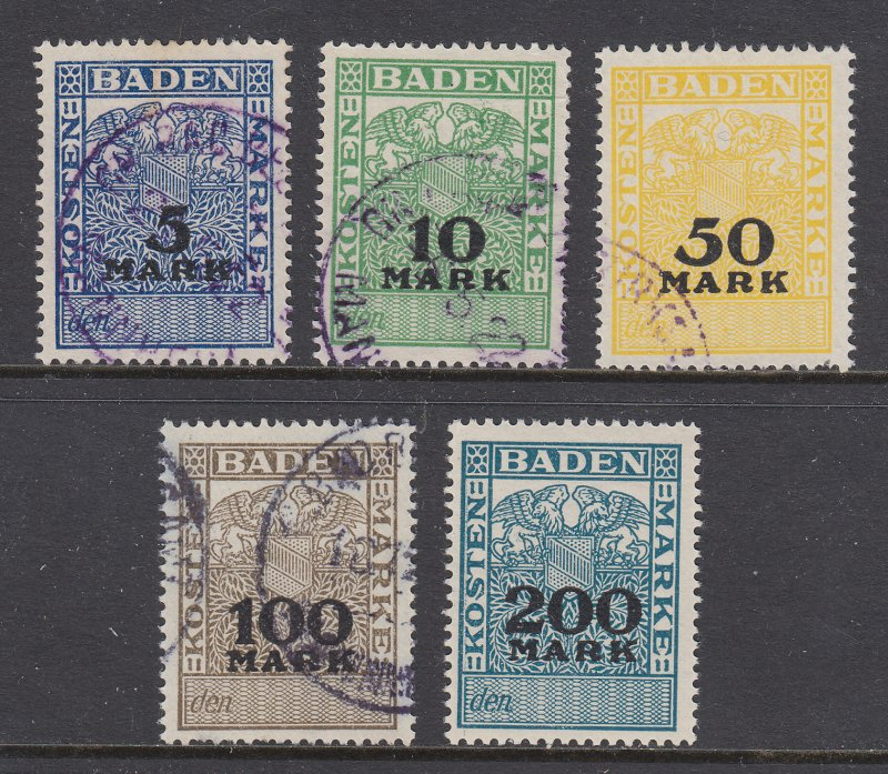 Germany, Baden, 1922 Kostenmarken Fee Revenues, 5 different, used, sound, F-VF.