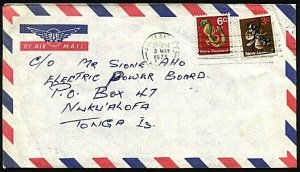 NEW ZEALAND TO TONGA 1973 9c rate airmail cover - 6c Seahorse + 3c moth....97306