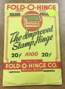 Vintage Fold-O-Hinge  Pack of 1000 Stamp Hinges 1941 Co. original company