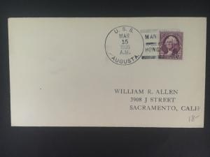 1935 US Navy Post Office Hong Kong China Cover to Sacramento USA USS Augusta