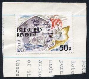 Isle of Man 50p Multicoloured QEII Pictorial Revenue Manuscript Cancel On Piece