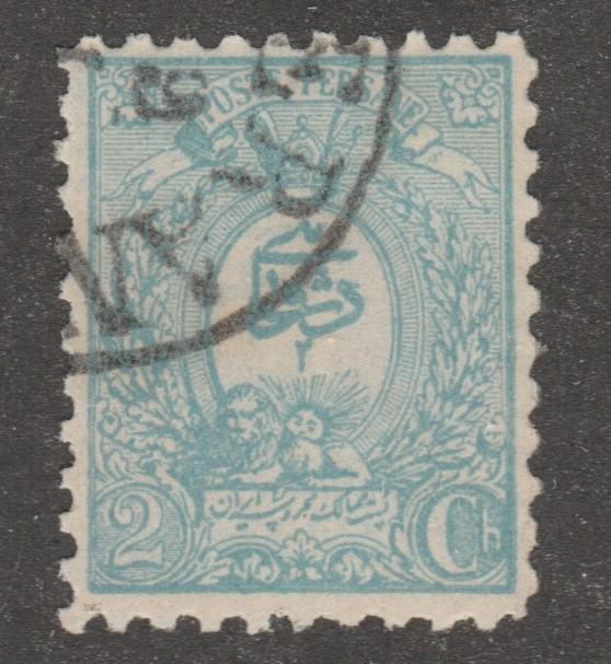 Iran Scott# 74, used hinged, HR, blue, 2 ch, #AOO38