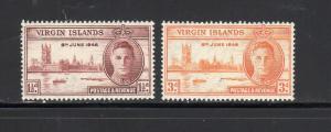 VIRGIN ISLANDS #88-89  1946  PEACE ISSUE        MINT VF NH O.G