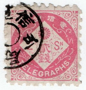 (I.B) Japan Telegraphs : 2sen Rose (1885)