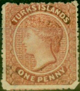 Turks Islands 1873 1d Dull Rose-Lake SG4 Fine Unused